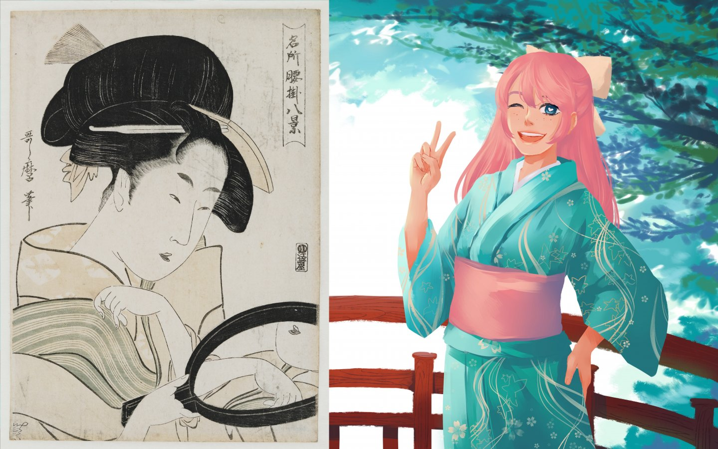 Kitagawa Utamaro, Schminkszene / Pummelpanda, Magical Girl (Collage AMBR) © Giverny, Fondation Claude Monet / Pummelpanda 2018