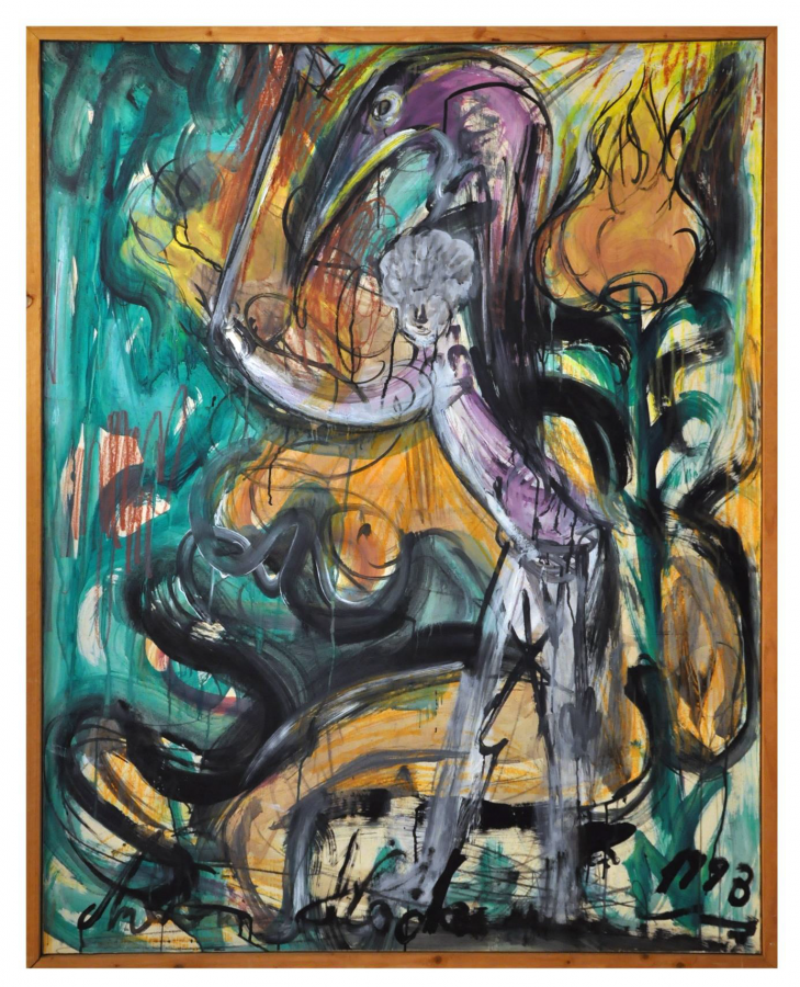 Antonius Höckelmann, Golfer on nude, bird and flowers, 1993, Privatsammlung © VG Bild-Kunst, Bonn 2019