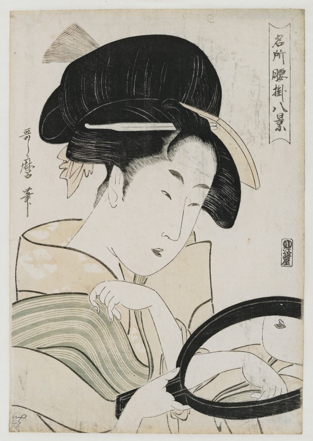 Kitagawa Utamaro, Woman infront of the mirror, around 1796, Alte Sammlung Claude Monet © Giverny, Fondation Claude Monet