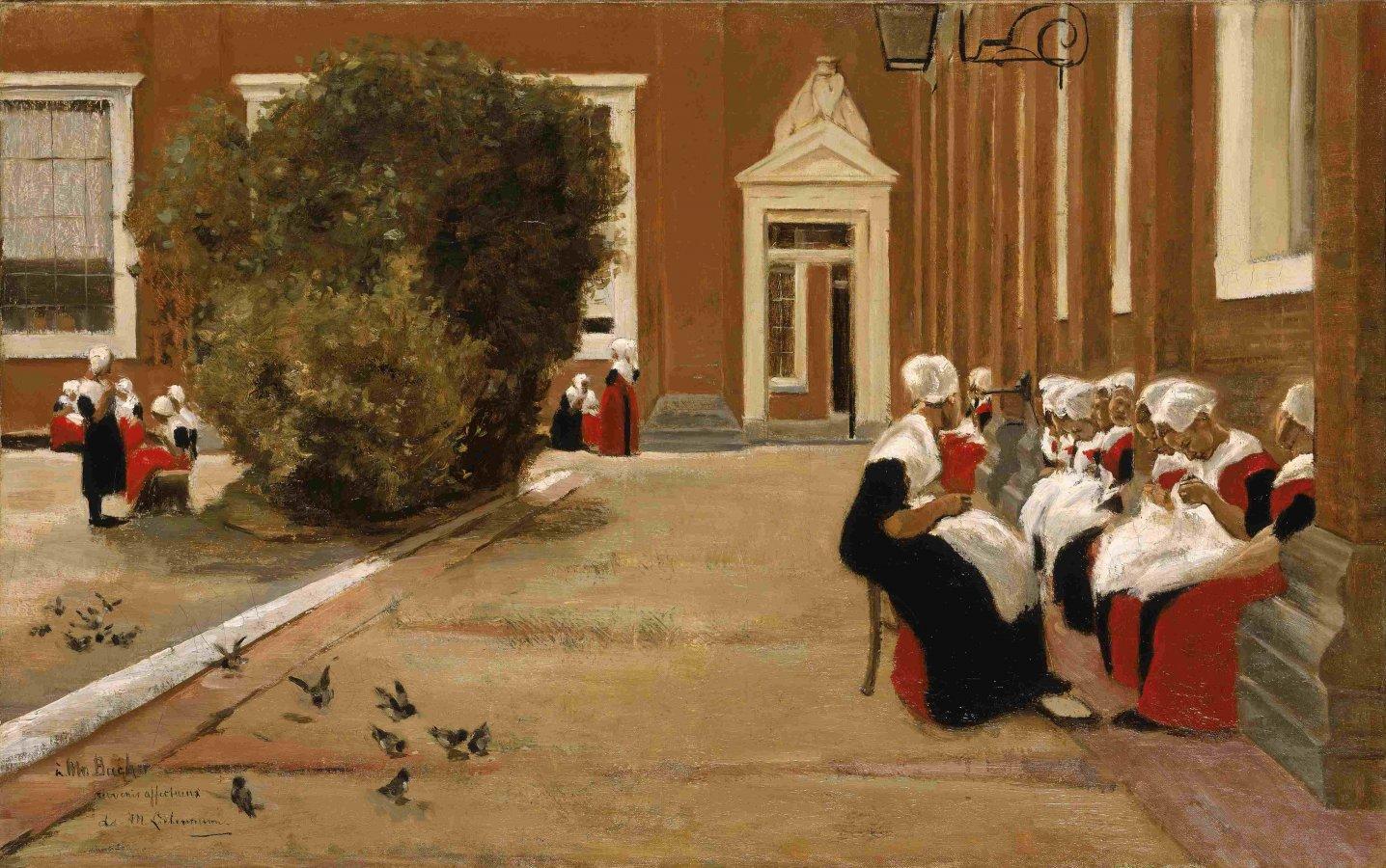 Max Liebermann, Hof des Waisenhauses in Amsterdam, 1876 © Arp Museum Bahnhof Rolandseck / Sammlung Rau für UNICEF, Foto: Peter Schälchli, Zürich