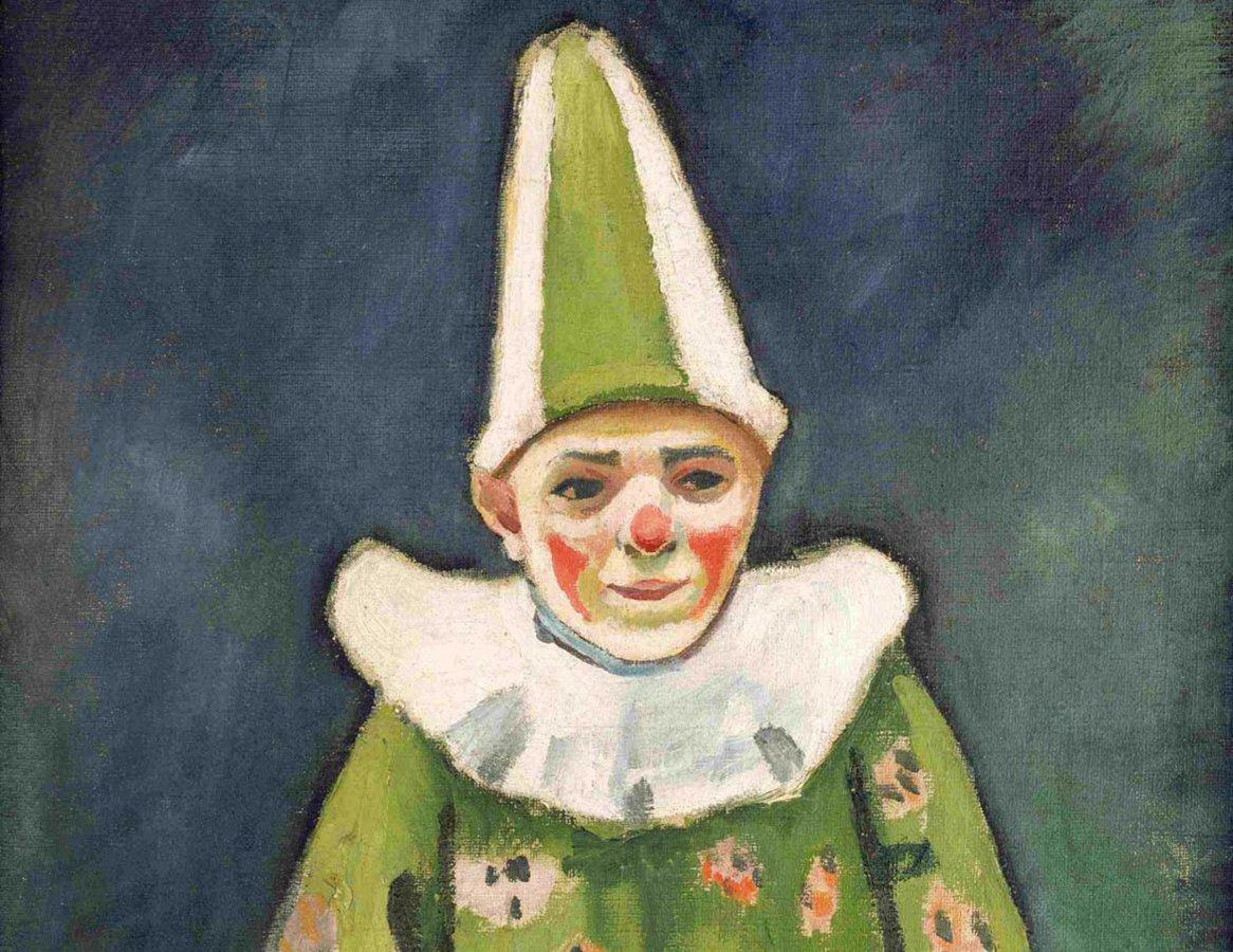 August Macke, Clown im grünen Kostüm, 1912   © Arp Museum Bahnhof Rolandseck / Sammlung Rau für UNICEF, Foto: Mick Vincenz (Detail)