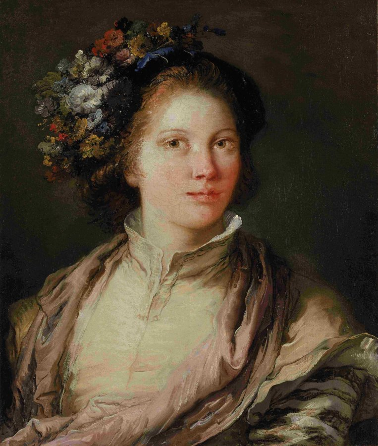 Giandomenico Tiepolo, Allegorical Portrait of a Young Woman as Flora, 1780-90 © Arp Museum Bahnhof Rolandseck / Rau Collection for UNICEF, Photo: Peter Schälchli, Zurich