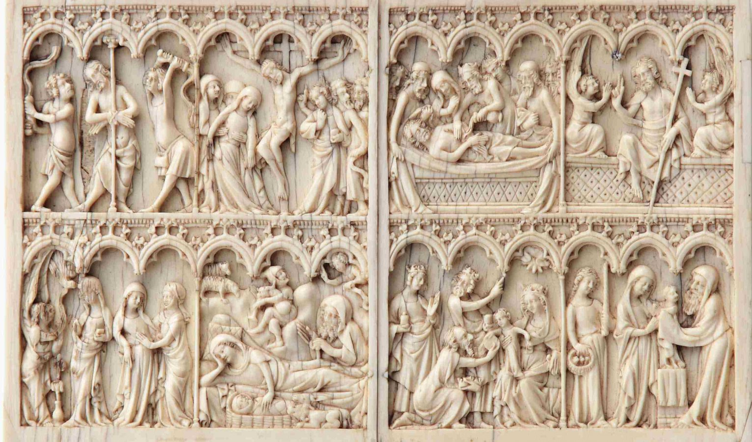 Anonymous French Master, Diptych with Scenes from the Life and Passion of Christ, first half of the 14th century  © Arp Museum Bahnhof Rolandseck / Rau Collection for UNICEF, photo: Mick Vincenz