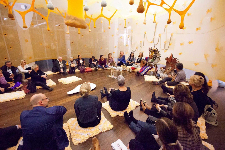Preview zur Ausstellungseröffnung »Ernesto Neto. Haux. Haux.« © und Foto: Arp Museum Bahnhof Rolandseck