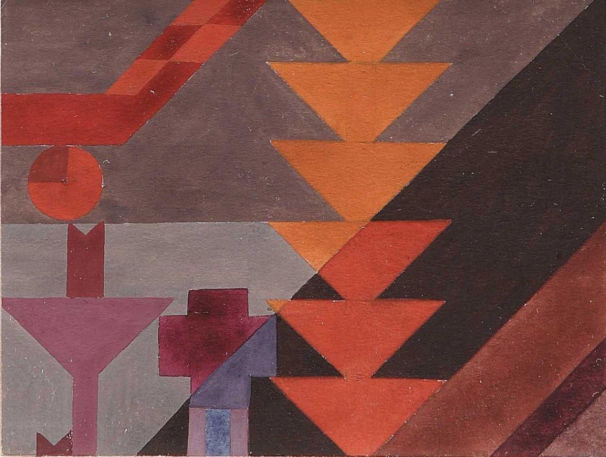 Sophie Taeuber-Arp, Komposition mit übereinandergesetzten Dreiecken, 1916 – 1918 © Arp Museum Bahnhof Rolandseck