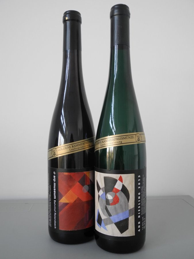 Our special edition of regional wine 2015 with motives of Sophie Taeuber-Arp,  © and photo: Arp Museum Bahnhof Rolandseck