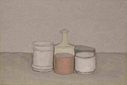 Giorgio Morandi - Stillleben mit Flasche und Gläsern