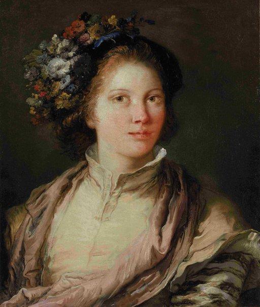 Giandomenico Tiepolo - Allegorical Portrait of a Young Woman as Flora